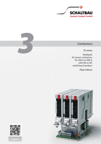 CF – Multipole AC power contactors for 300 A or 600 A with NO or NC switching chambers