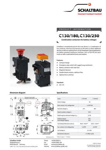 Combination contactors for battery voltages