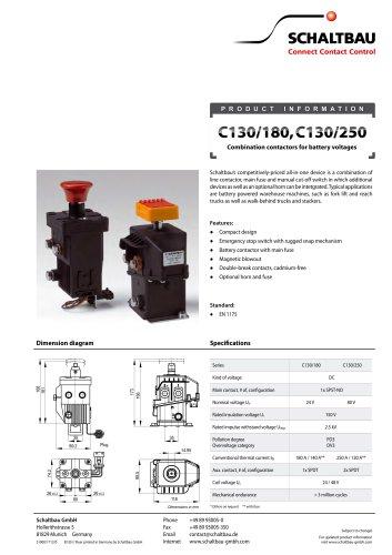 Flyer Combination contactors for battery voltages C130/180, C130/250