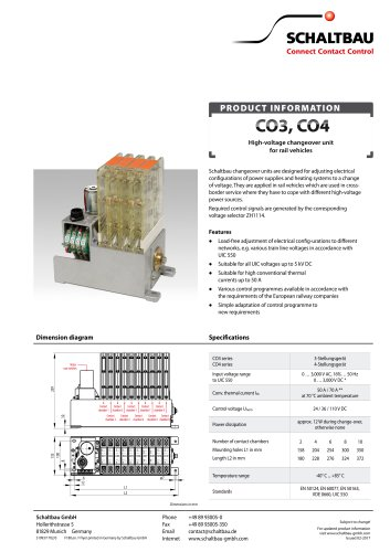 High-voltage changeover unit for rail vehicles CO3, CO4