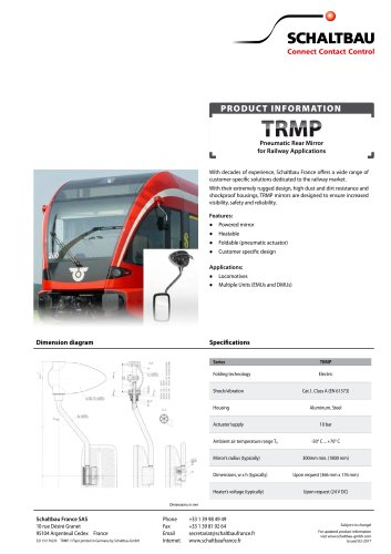 Pneumatic rear mirror, TRMP series