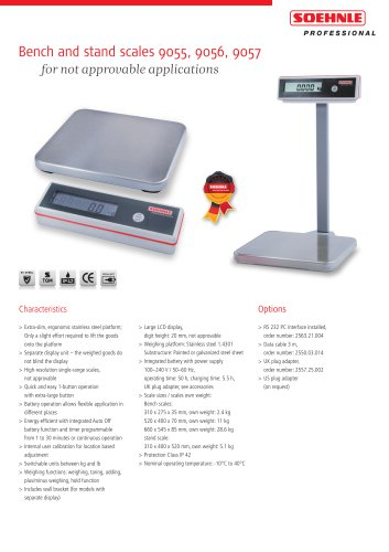 Bench and stand scales 9055, 9056, 9057