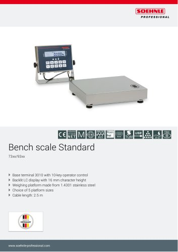 Bench scales stainless steel 73xx, 93xx