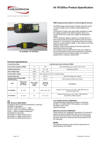 34 10125Xxx Product Specification