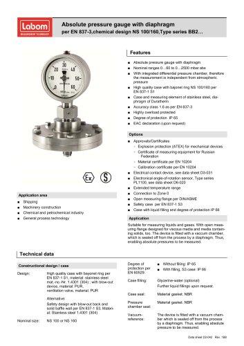 Absolute pressure gauge with diaphragm per EN 837-3