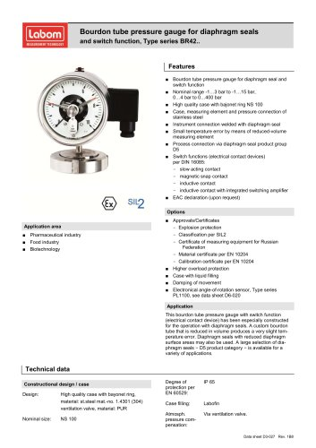 Bourdon tube pressure gauge for diaphragm seals and switch function