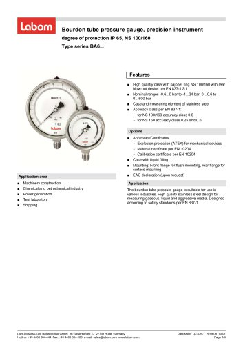 Bourdon tube pressure gauge, precision instrument