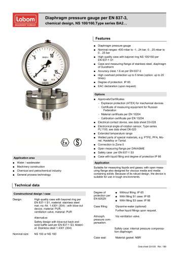 Diaphragm pressure gauge per EN 837-3