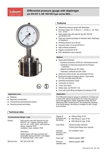 Differential pressure gauge with diaphragm per EN 837-3, NS 100/160
