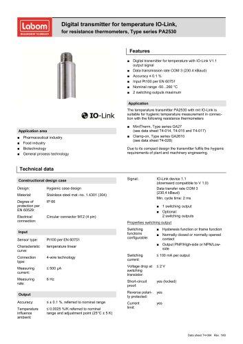 Digital transmitter for temperature IO-Link