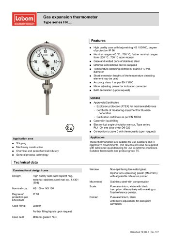 Gas expansion thermometer Type series FN….
