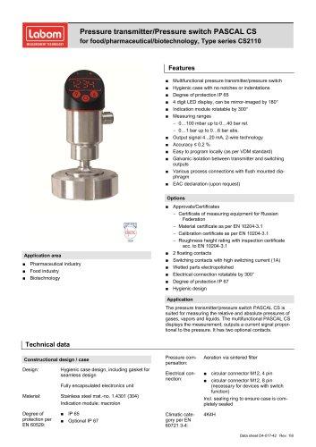 Pressure transmitter/Pressure switch PASCAL CS