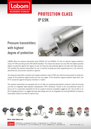 Protection Class IP 69K
