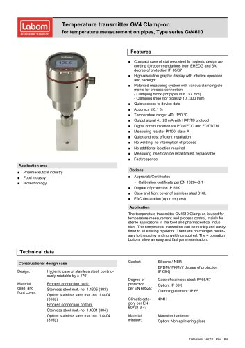 Temperature transmitter GV4 Clamp-on