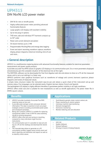UPM315 DIN 96x96 LCD power meter