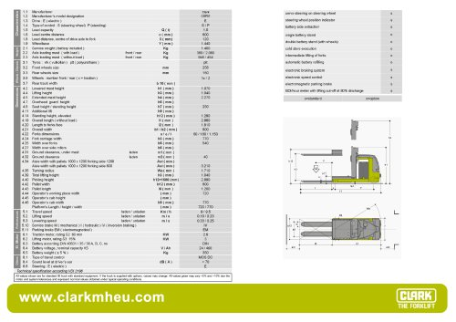 Specification sheet CLARK C OP 01
