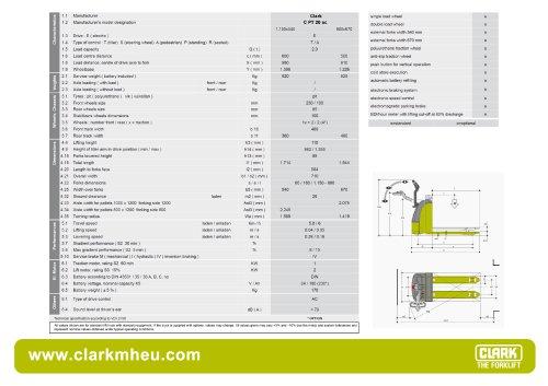 Specification sheet CLARK C PT 20 ac