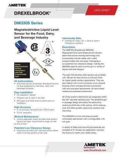 DM330S - Sanitary, Magnetostrictive Level