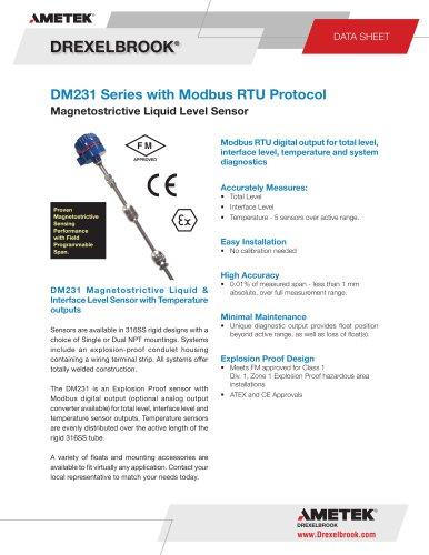 Magnetostrictive Level Measurement DM231 Series