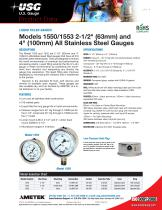 "LIQUID FILLED GAUGES Models 1550/1553 2-1/2"" (63mm) and 4"" (100mm) All Stainless Steel Gauges"