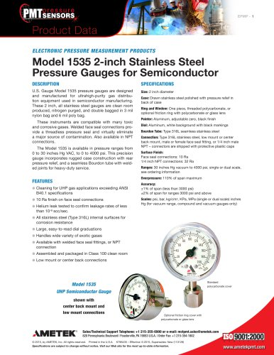 Model 1535 2-inch Stainless Steel Pressure Gauges for Semiconductor