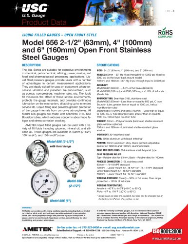 "Model 656 2-1/2"" (63mm), 4"" (100mm) and 6"" (160mm) Open Front Stainless Steel Gauges"