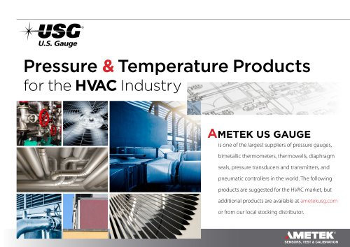 Pressure & Temperature Products for the  H VA C    Industry
