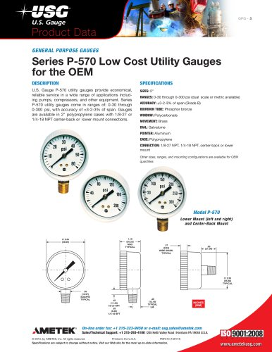 Series P-570 Low Cost Utility Gauges for the OEM