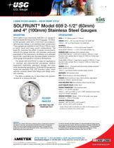 "SOLFRUNT® Model 659 2-1/2"" (63mm) and 4"" (100mm) Stainless Steel Gauges"