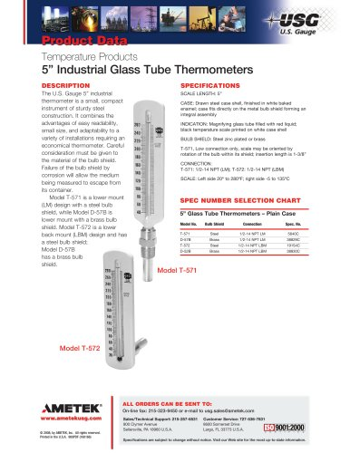 5in Industrial Glass Tube Thermometers