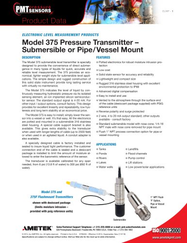Model 375 Pressure Transmitter – Submersible or Pipe/Vessel Mount