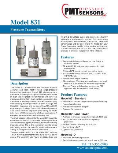 Model 831Pressure Transmitters