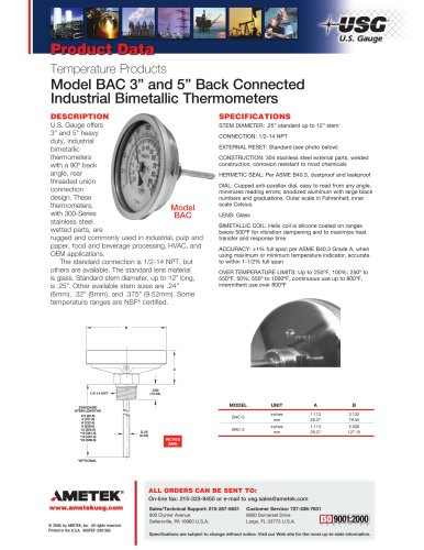 Model BAC 3in and 5in Back Connected