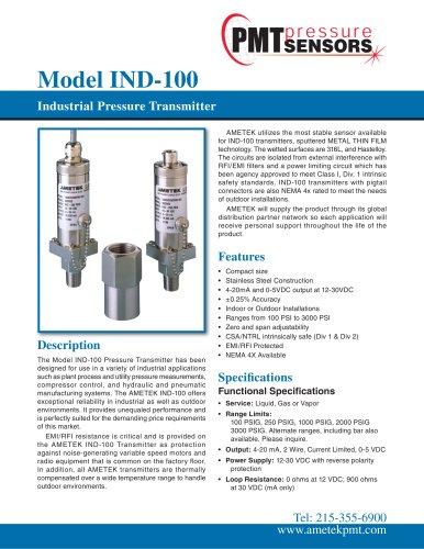 Model IND-100 Industrial Pressure Transmitter