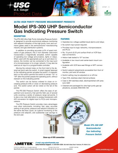 Model IPS-300 UHP Semiconductor Gas Indicating Pressure Switch
