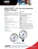 "Model P1521 1-1/2"" Corrosion Resistant Pressure Gauges"