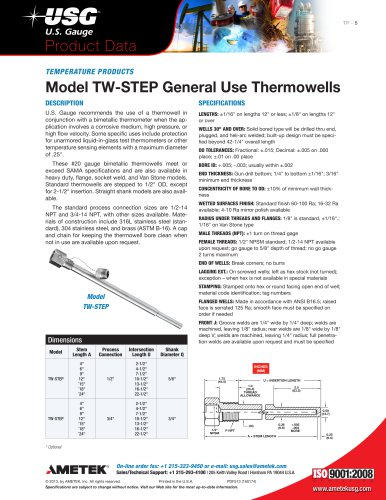 Model TW-STEP General Use Thermowells