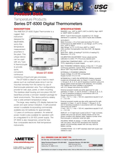 Series DT-8300 Digital Thermometers