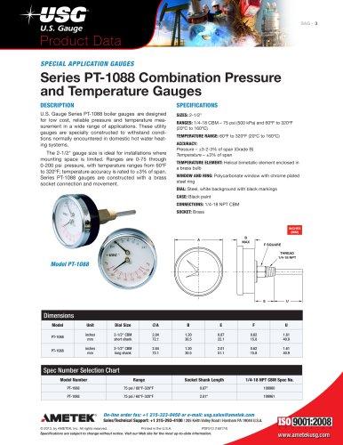 Series PT-1088 Combination Pressure and Temperature Gauges
