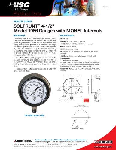 """SOLFRUNT® 4-1/2"""" Model 1986 Gauges with MONEL Internals"""