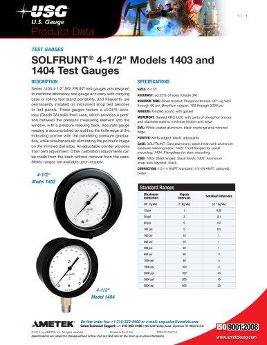 """SOLFRUNT® 4-1/2"""" Models 1403 and 1404 Test Gauges"""