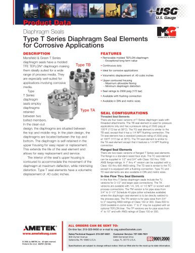 Type T Series Diaphragm Seal Elements  for Corrosive Applications