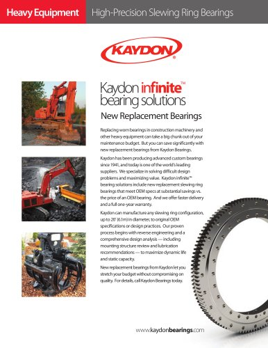 New Replacement Bearings by Kaydon for Heavy Equipment