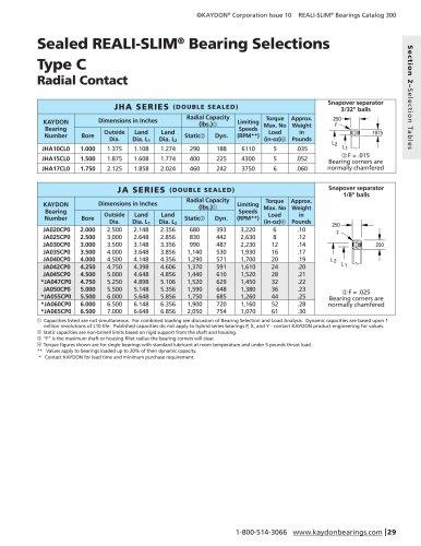 Sealed R eali -S lim ® Bearing Selections Type C