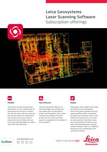 Laser Scanning Software Subscriptions Flyer