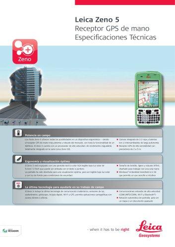 Leica Zeno 5 Receptor GPS de mano Especificaciones Técnicas