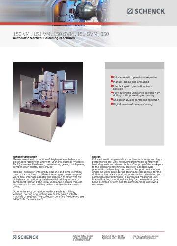 150 VM, 151 VM, 150 SVM, 151 SVM, 350 Automatic Vertical Balancing Machines