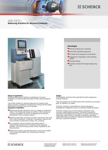 400 FBTU Balancing Machine for Wound Armatures