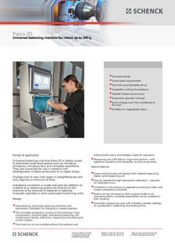 PASIO 05 UNIVERSAL BALANCING MACHINE FOR ROTORS UP TO 500 G