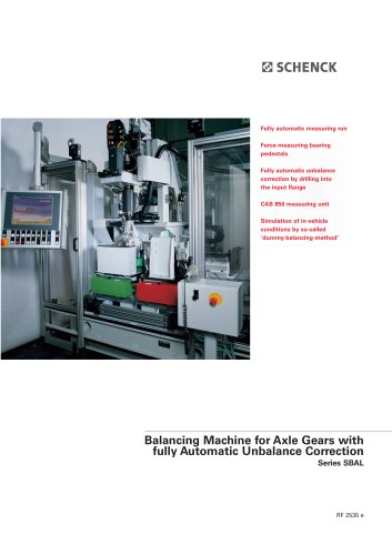 Series SBAL Balancing Machines for Axle Drives with Fully Automatic Unbalance Correction